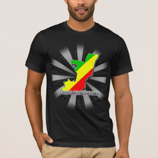 T-shirt Carte 2,0 de drapeau du Congo Brazzaville