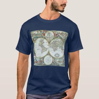 T-shirt Carte antique du 17ème siècle du monde, Frederick