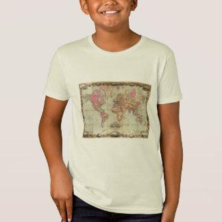 T-Shirt Carte antique du monde par John Colton, circa 1854