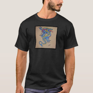 T-shirt carte bleue de parchemin de dragon (carré)