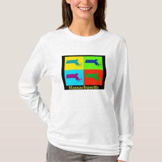 T-shirt Carte colorée d'art de bruit du Massachusetts