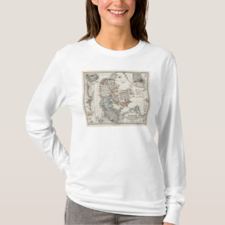 T-shirt Carte d'atlas du Danemark avec 5 cartes d'encart
