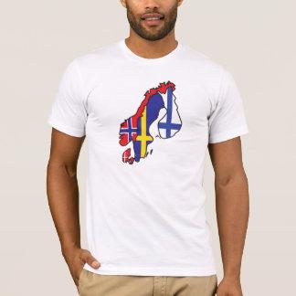 T-shirt Carte de drapeau de la Scandinavie