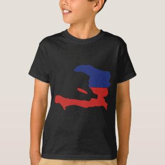 T-shirt Carte de drapeau du Haïti