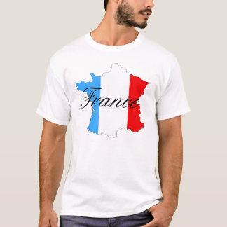 T-shirt Carte de la France dans blanc et bleu rouges