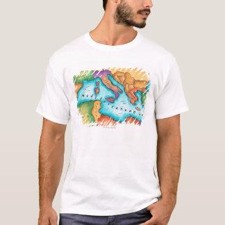 T-shirt Carte de la mer Méditerranée
