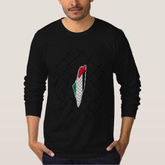 T-shirt Carte de la Palestine avec le koffiyeh (noir)