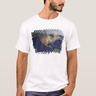 T-shirt Carte de l'Amérique du Nord avec le brouillard
