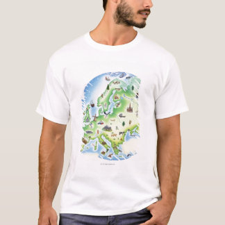 T-shirt Carte de l'Europe avec des illustrations de