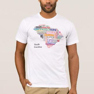 T-shirt Carte de ville de la Caroline du Sud