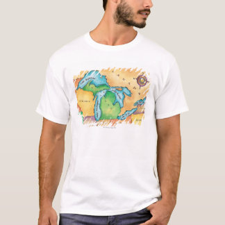 T-shirt Carte des Great Lakes