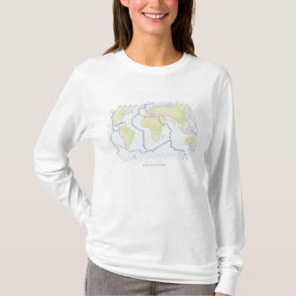 T-shirt Carte du monde montrant des marges de plat