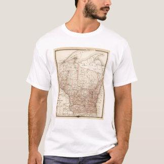 T-shirt Carte du Wisconsin, montrant des secteurs
