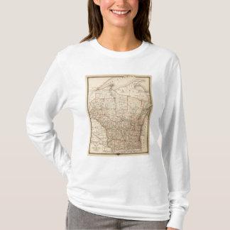 T-shirt Carte du Wisconsin montrant les secteurs