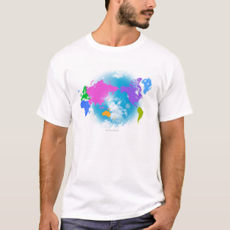 T-shirt Carte globale colorée