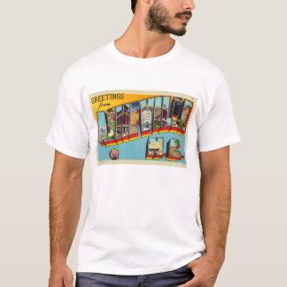 T-shirt Carte postale de lettre d'Asheville de rétro