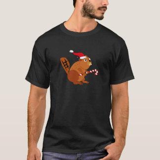 T-shirt Castor drôle dans l'art de Noël de casquette de