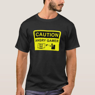 T-shirt Caution Angry Gamer