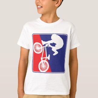 T-shirt Cavalier de BMX dans blanc et bleu rouges