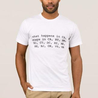 T-shirt ce qui se produit dans CA, reste dans CA, NY, le