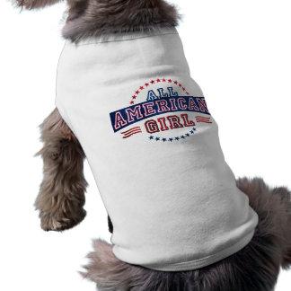 T-shirt cent pour cent américain de chien de fille t-shirt pour chien