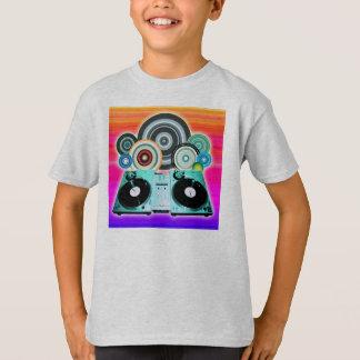 T-shirt Cercles de plaque tournante du DJ