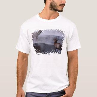 T-shirt Cerfs communs sur la formation de roche
