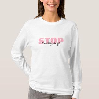 T-shirt Cessez d'intimider la longue chemise simple rose