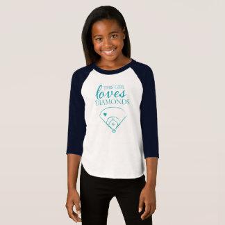 T-shirt Cette fille aime la chemise de base-ball/base-ball