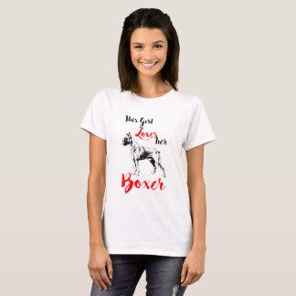 T-shirt Cette fille aime son chien de boxeur