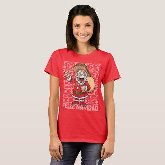 T-shirt Chandail laid de Noël de Feliz Navidad Père Noël