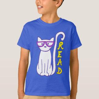 T-shirt Chat blanc avec les verres pourpres avec le signe