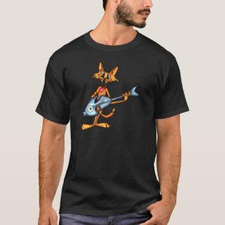 T-shirt Chat de bande dessinée et guitare de poissons