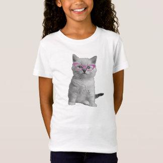 T-Shirt Chat de filles avec la chemise en verre