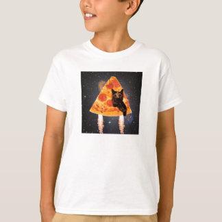 T-shirt Chat de l'espace dans une pizza Rocket