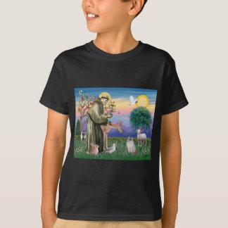 T-shirt Chat de Ragdoll (point bleu) et saint Francis