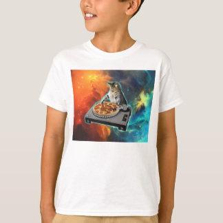 T-shirt Chat DJ avec la table saine de jockey de disque