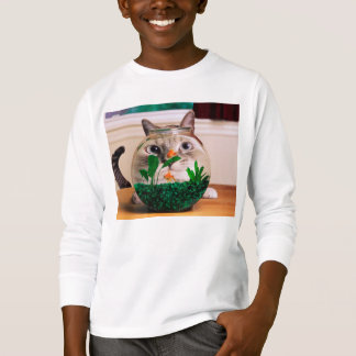 T-shirt Chat et poissons - chat - chats drôles - chat fou