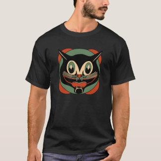 T-shirt chat noir de Halloween d'art déco des années 1930