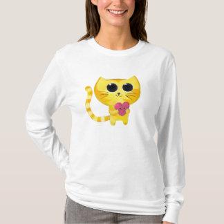 T-shirt Chat romantique mignon avec le coeur de sourire