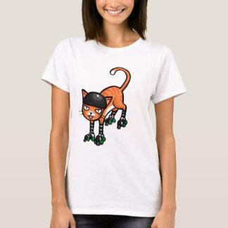 T-shirt Chat tigré orange sur des rollerskates
