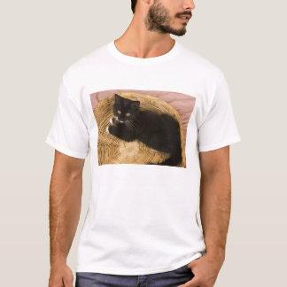 T-shirt Chaton aux cheveux courts noir et blanc sur le