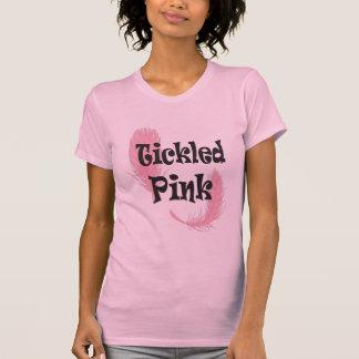 T-shirt chatouillé de dames roses