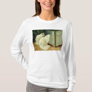 T-shirt Chats blancs observant le poisson rouge