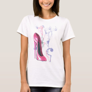 T-shirt Chaussure stylet rose