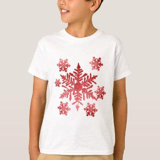 T-shirt Chemise avec les flocons de neige rouges
