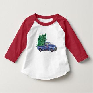 T-shirt Chemise bleue d'anniversaire de Noël de camion