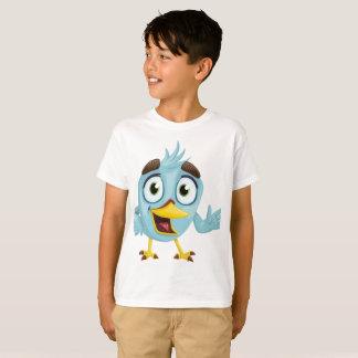 T-shirt Chemise bleue d'oiseau de garçons