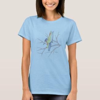 T-shirt Chemise bleue et jaune d'oiseau de ronflement