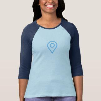 T-shirt Chemise bleue simple d'icône de Pin d'emplacement